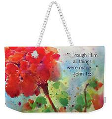 Geranium Praises Weekender Tote Bag