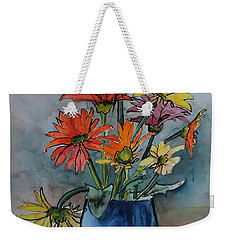 Gerberas In A Blue Pot Weekender Tote Bag