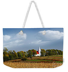 Weekender Tote Bag featuring the photograph German Church On The Hill by Yumi Johnson