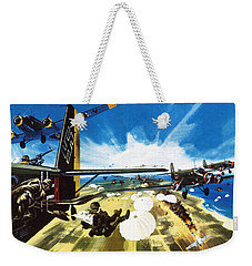 German Paratroopers Landing On Crete During World War Two Weekender Tote Bag by Wilf Hardy