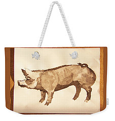 Weekender Tote Bag featuring the photograph German Pietrain Boar 31 by Larry Campbell