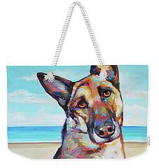 German Shepard On The Beach Weekender Tote Bag