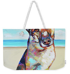 German Shepard On The Beach Weekender Tote Bag