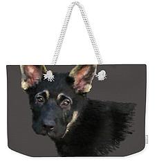 German Shepard Puppy Weekender Tote Bag by Kathie Miller