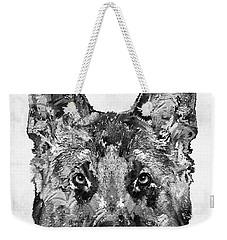 Weekender Tote Bag featuring the painting German Shepherd Black And White By Sharon Cummings by Sharon Cummings