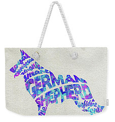 Weekender Tote Bag featuring the painting German Shepherd Dog Watercolor Painting / Typographic Art by Ayse and Deniz