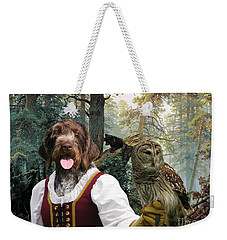German Wirehaired Pointer Art Canvas Print - Lady Owl And Little Bears Weekender Tote Bag