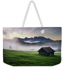 Geroldsee Forest With Beautiful Foggy Sunrise Over Mountain Peaks, Bavarian Alps, Bavaria, Germany. Weekender Tote Bag