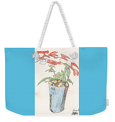 Weekender Tote Bag featuring the drawing Gesture Drawing Of Poinsettia by Rod Ismay