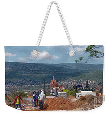 Weekender Tote Bag featuring the photograph Get Yer House Before It Is To Late by John Kolenberg