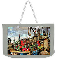 Weekender Tote Bag featuring the photograph Crab Rings On Deck by Thom Zehrfeld