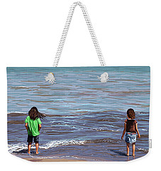 Weekender Tote Bag featuring the painting Getting Their Feet Wet by Shawna Rowe