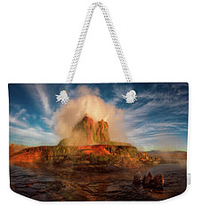 Geyser Steams At Dawn Weekender Tote Bag