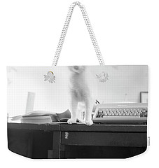 Ghost Cat, With Typewriter Weekender Tote Bag