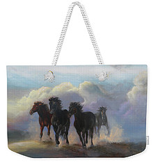 Weekender Tote Bag featuring the painting Ghost Horses by Karen Kennedy Chatham