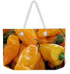 Weekender Tote Bag featuring the photograph Ghost Peppers by Kristin Elmquist
