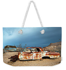 Weekender Tote Bag featuring the photograph Ghost Town Old Car by Catherine Lau