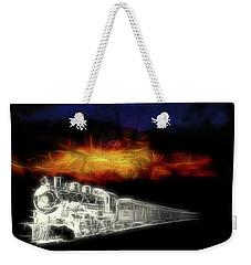 Weekender Tote Bag featuring the digital art Ghost Train by John Haldane