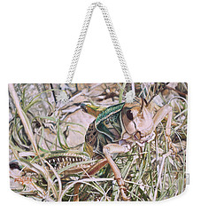 Weekender Tote Bag featuring the painting Giant Grasshopper by Joshua Martin