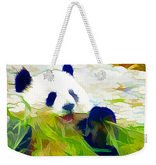 Weekender Tote Bag featuring the painting Giant Panda Bear Eating Bamboo by Lanjee Chee