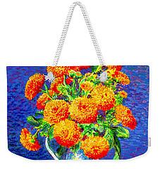 Gift Of Gold, Orange Flowers Weekender Tote Bag