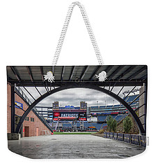 Gillette Stadium And The Four Super Bowl Banners Weekender Tote Bag