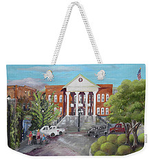 Weekender Tote Bag featuring the painting Gilmer County Courthouse - Ellijay, Ga by Jan Dappen