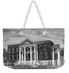 Weekender Tote Bag featuring the painting Gilmer County Old Courthouse - Black And White by Jan Dappen