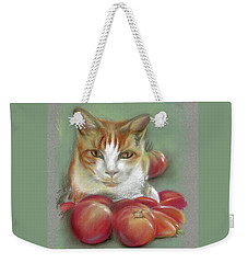 Ginger And White Cat Among The Tomatoes Weekender Tote Bag