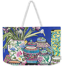 Weekender Tote Bag featuring the painting Ginger Jars by Rosemary Aubut