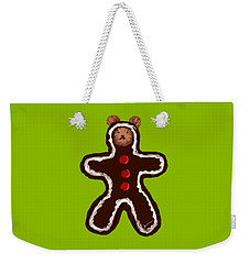 Weekender Tote Bag featuring the painting Gingerbread Teddy by Jean Pacheco Ravinski