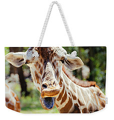 Weekender Tote Bag featuring the photograph Giraffe by Andrea Anderegg
