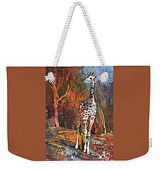 Weekender Tote Bag featuring the painting Giraffe Batik II by Ryan Fox
