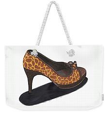 Weekender Tote Bag featuring the drawing Giraffe Heels by Jean Haynes