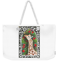 Weekender Tote Bag featuring the painting Giraffe In Archway by Lise Winne