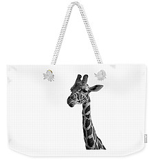 Weekender Tote Bag featuring the photograph Giraffe In Black And White by James Sage