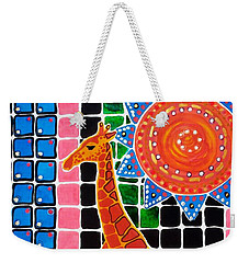 Weekender Tote Bag featuring the painting Giraffe In The Bathroom - Art By Dora Hathazi Mendes by Dora Hathazi Mendes