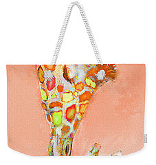 Giraffe Love- Orange Weekender Tote Bag by Jane Schnetlage