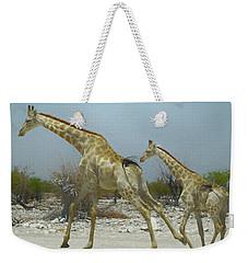 Giraffe Run Weekender Tote Bag by Ernie Echols