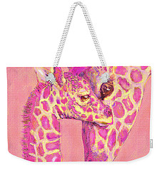 Giraffe Shades- Pink Weekender Tote Bag by Jane Schnetlage