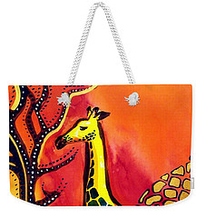 Weekender Tote Bag featuring the painting Giraffe With Fire  by Dora Hathazi Mendes