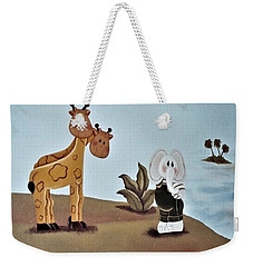 Giraffes, Elephants And Palm Trees Weekender Tote Bag