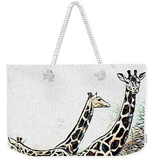 Weekender Tote Bag featuring the digital art Giraffes by Pennie McCracken