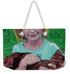 Girl And Chicken Weekender Tote Bag by Stan Hamilton