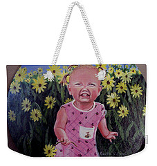 Girl And Daisies Weekender Tote Bag