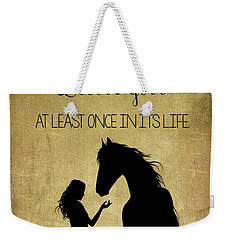 Girl And Horse Silhouette Weekender Tote Bag