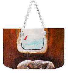 Weekender Tote Bag featuring the painting Girl At The Beach by Winsome Gunning