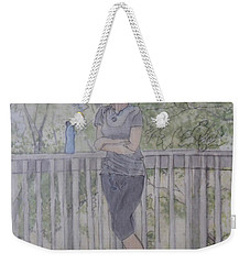 Weekender Tote Bag featuring the painting Girl At The Mountain Top by Joel Deutsch