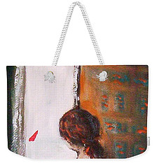 Weekender Tote Bag featuring the painting Girl At The Window by Winsome Gunning