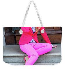 Girl Dressing In Pink Weekender Tote Bag
